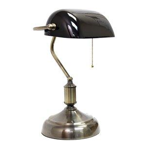 Lampe de bureau style banquier avec abat-jour en verre Simple Designs, 14,75 po, noire