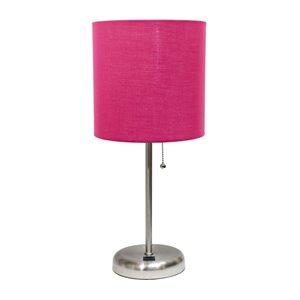 Lampe bâton avec port de charge USB et abat-jour en tissu LimeLights, 19,5 po, rose