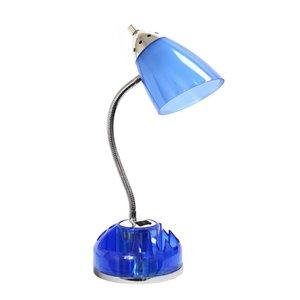 Lampe de bureau avec organisateur Flossy de LimeLights avec prise de charge et plateau pivotant, bleu clair