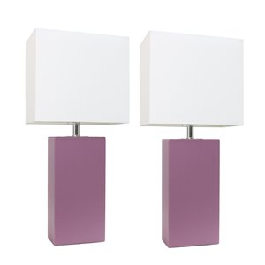 Ensemble tendance moderne/contemporain de 2 lampes Elegant Designs, 2lampes de table, abat-jour blanc, mauve