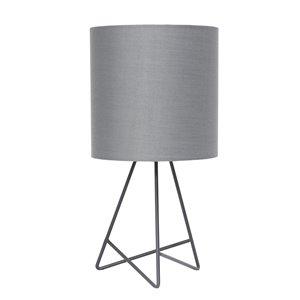 Lampe de table avec abat-jour en tissu Simple Design, 13,5 po, grise