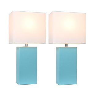 Ensemble moderne/contemporain de 2 lampes Elegant Designs, 2lampes de table, abat-jour blanc, bleu