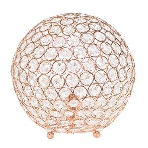 Lampe de table à paillettes en forme de boule de cristal elegant Designs, 10 po, rose doré
