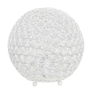 Lampe de table à paillettes en forme de boule de cristal Elegant Designs, 10 po, blanche
