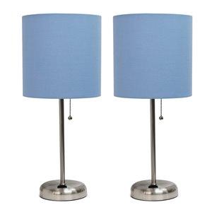 Ensemble stylé moderne/contemporain de 2 lampes LimeLights, 2lampes de table, abat-jour bleu, acier