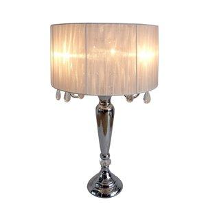 Lampe de table à la mode romantique avec cristaux suspendus Elegant Design, 31 po, chrome et blanche