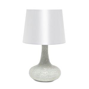 Lampe de table en verre carrelé mosaïque avec abat-jour en tissu Simple Designs, 14,17 po, blanche