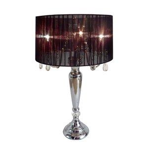 Lampe de table à la mode romantique avec cristaux suspendus Elegant Design, 31 po, noire et chrome