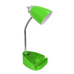 Lampe de bureau organisateur col de cygne LimeLights avec support et prise de charge, vert