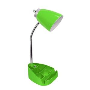 Lampe de bureau organisateur à col de cygne LimeLights avec support et port USB, vert