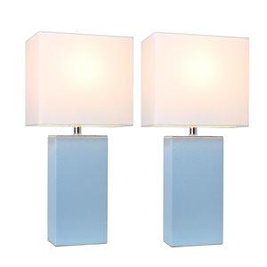 Ensemble chic moderne/contemporain de 2 lampes Elegant Designs, 2lampes de table, abat-jour blanc, bleu