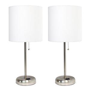 Ensemble moderne/contemporain de 2 lampes LimeLights, 2lampes de table, abat-jour blanc, acier