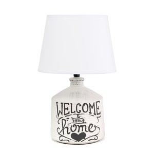 """Lampe de table de ferme """"Welcome Home"""" Simple Designs, céramique rustique, 13,7 po, blanc lavé"""