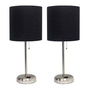Ensemble moderne/contemporain de 2 lampes LimeLights, 2lampes de table, abat-jour noir, acier