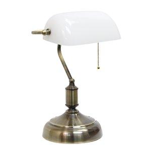 Lampe de bureau style banquier avec abat-jour en verre Simple Designs, 14,75 po, blanche