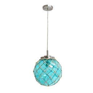 Elegant Designs Buoy Netted Brushed Nickel Coastal Glass Pendant with Natural Rope - Aqua
