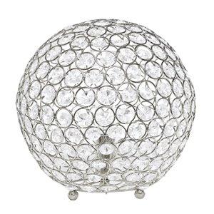Lampe de table à paillettes en forme de boule de cristal Elegant Designs, 10 po, chrome