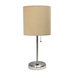 Lampe bâton avec port de charge USB et abat-jour en tissu LimeLights, 19,5 po, beige