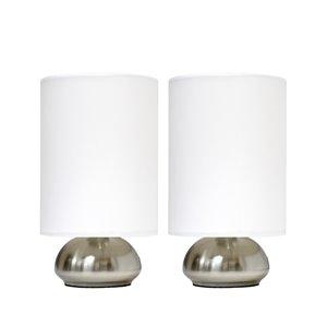 Ensemble moderne/contemporain de 2 lampes Simple Designs, 2lampes de table, abat-jour blanc, nickel