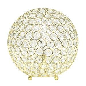 Lampe de table à paillettes en forme de boule de cristal Elegant Designs, 10 po, dorée