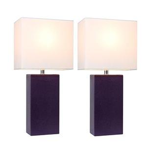 Ensemble moderne/contemporain de 2 lampes Elegant Designs, 2lampes de table, abat-jour blanc, mauve
