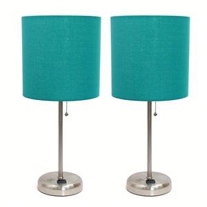 Ensemble moderne/contemporain de 2 lampes LimeLights, 2lampes de table, abat-jour vert, acier