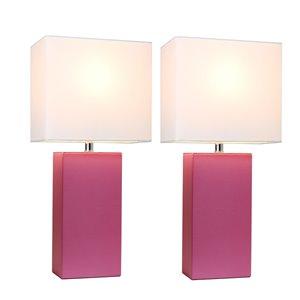 Ensemble stylé moderne/contemporain de 2 lampes Elegant Designs, 2lampes de table, abat-jour blanc, rose