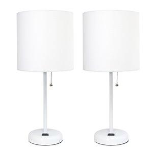 Ensemble moderne/contemporain de 2 lampes LimeLights, 2lampes de table, abat-jour blanc, blanc