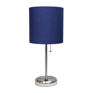 Lampe bâton avec port de charge USB et abat-jour en tissu LimeLights, 19,5 po, bleue marine