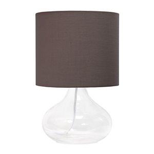 Lampe de table goutte de pluie en verre Simple Designs, 13,5 po, transparente et grise