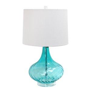 Lampe de table en verre avec abat-jour en tissu Elegant Design, 24 po, bleu clair