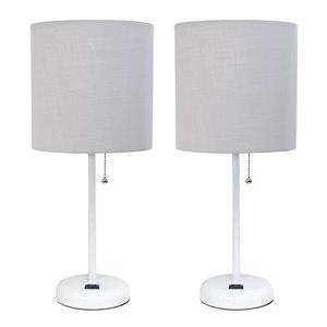 Ensemble moderne/contemporain de 2 lampes LimeLights, 2lampes de table, abat-jour gris, blanc