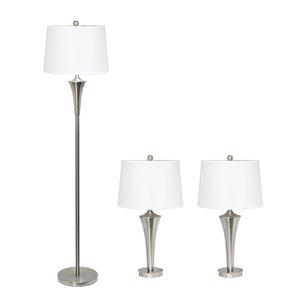 Ensemble tendance contemporain de 3 lampes Elegant Designs, 1lampe sur pied et 2lampes de table, abat-jour blanc, nickel