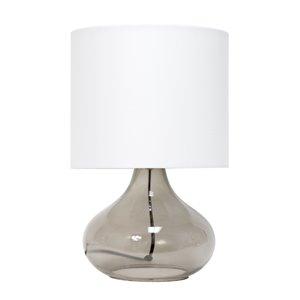 Lampe de table en verre goutte de pluie Simple Designs, 13,5 po, grise fumée