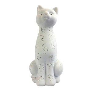Lampe de table lumineuse en porcelaine en forme de chat Simple Designs, 12,2 po, blanc