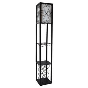 Lampadaire étagère de rangement et casier à vin avec abat-jour en lin Simple Designs, 62,75 po, noir