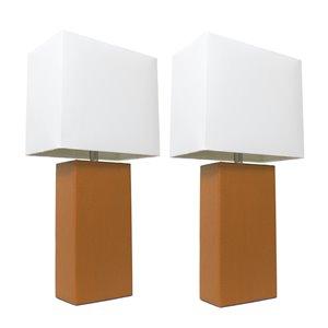 Ensemble moderne/contemporain de 2 lampes Elegant Designs, 2lampes de table, abat-jour blanc, brun