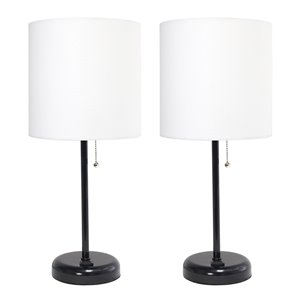 Ensemble moderne/contemporain de 2 lampes LimeLights, 2lampes de table, abat-jour blanc, noir