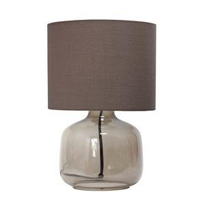 Lampe de table en verre avec abat-jour en tissu Simple Designs, 13 po, fumée et grise