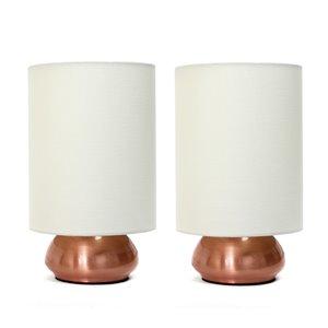 Ensemble moderne/contemporain de 2 lampes Simple Designs, 2lampes de table, abat-jour brun, cuivre