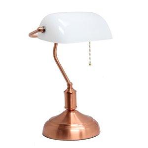 Lampe de banquier avec abat-jour en verre Simple Designs, 14,75 po, rose doré