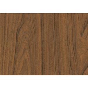 Film autocollant décoratif Noyer moyen de DC Fix, 17 po x 78 po, bois brun foncé, paquet de 2