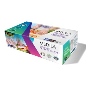 Medila Disposable PE Clear Gloves - Poly Food-Grade - Large - 500/pack