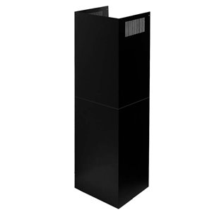 Turin Linosa Range Hood Adjustable Chimney Extension - Black - 2-Piece