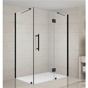 Turin Catane Shower Door Rectangular Hinged - 42-in x 34-in - Black