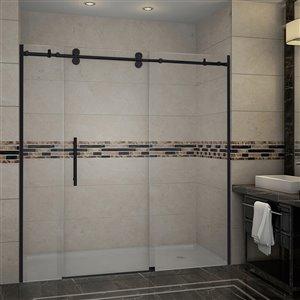 Porte de douche coulissante pour alcôve Horizon de Turin, 72 po, noir