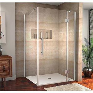 Porte de douche pour coin rectangulaire la Catane de Turin, 40 po x 30 po, chrome