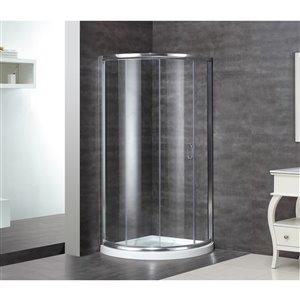 Porte de douche pour coin rond Maximum de Turin, 36 po x 36 po, chrome