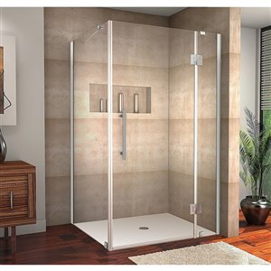 Porte de douche pour coin rectangulaire la Catane de Turin, 42 po x 34 po, chrome