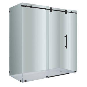 Porte de douche pour coin Vertiges de Turin, 35 po x 72 po, noir